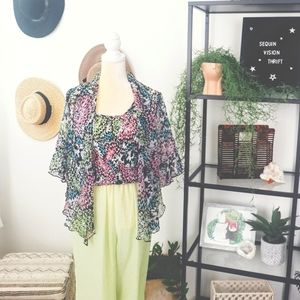 Tops - Monarch Butterfly pleated top and kimono cardigan